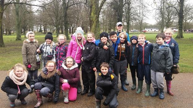 Mount Nod students after river study trip on flood day at Coombe Country Park