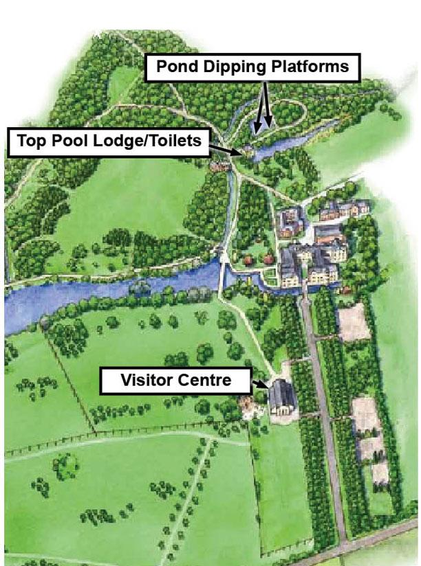 Map showing locations of pond dipping platforms at Coombe Country Park