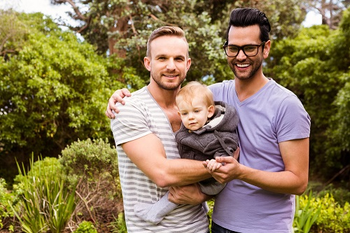 Two dads with child