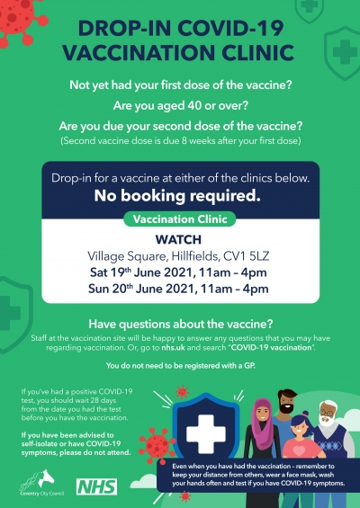 Hillfields Drop in vaccination centre