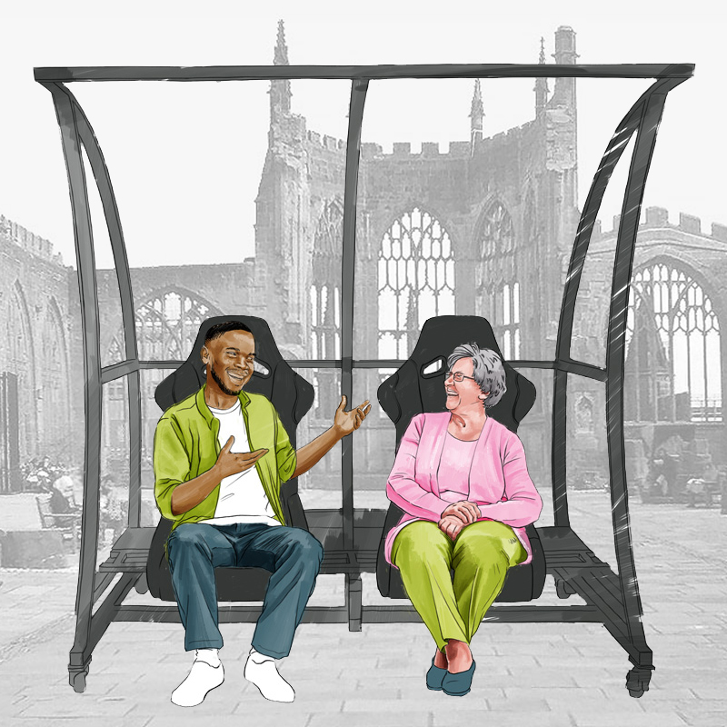 Animation of two people talking on the new bench that massages and warms your backside
