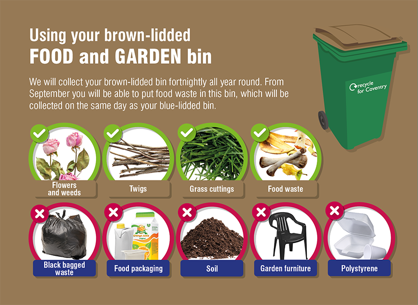 Brown-lidded bin contents