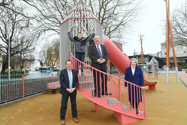 From left to right - Nick Abell (CWLEP), Logan Lloyd (10, first child to use the equipment), Cllr Jim O'Boyle and Cllr Patricia Hetherton.