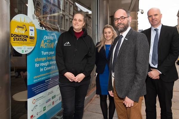 Photo - Left to right: Kerrie Pritchard – Senior Rough Sleeping Outreach Worker at Coventry City Council, Alisha Probert, Customer Service Specialist at Coventry Building Society (CBS), Cllr David Welsh, and Paul Merrick, Area Manager CBS.