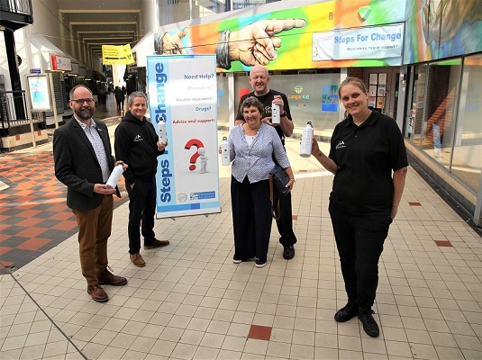 Picture left to right: Cllr David Welsh, John Toman, Rough Sleeping Co-ordinator Coventry City Council, Evan and Sophie Grant, and Kerrie Pritchard – Senior Rough Sleeping Outreach Worker.