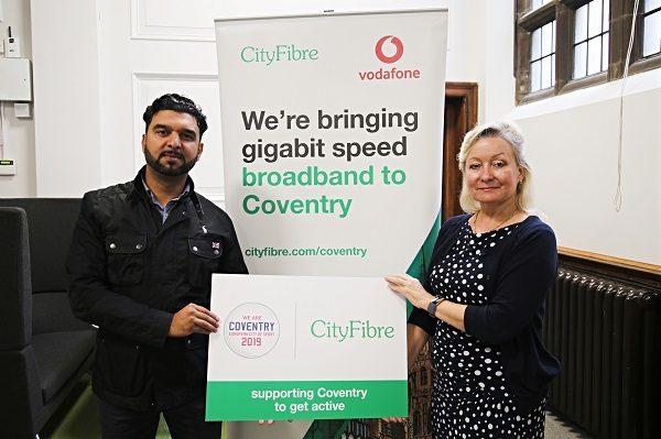 Cllr Kamran Caan, Cabinet Member for Public Health and Leigh Hunt Leigh Hunt, CityFibre's City Manager for Coventry