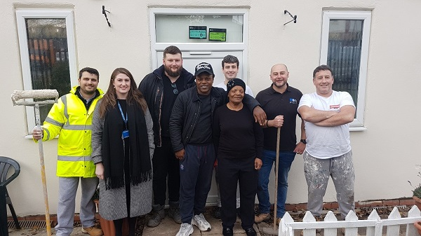 Photo Left to Right: Ben Keeling, RG Group; Sarah Gristwood, Coventry City Council; Tom Hay, RG Group; Junior Higgins, Peggie's Park; Bernice Higgins, Peggie's Park; Luke Moore, M&S Decorators; Phil Moore, M&S Decorators.