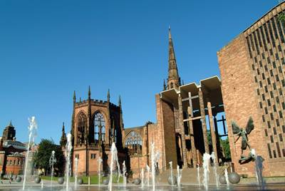 Coventry cathedral and fountains