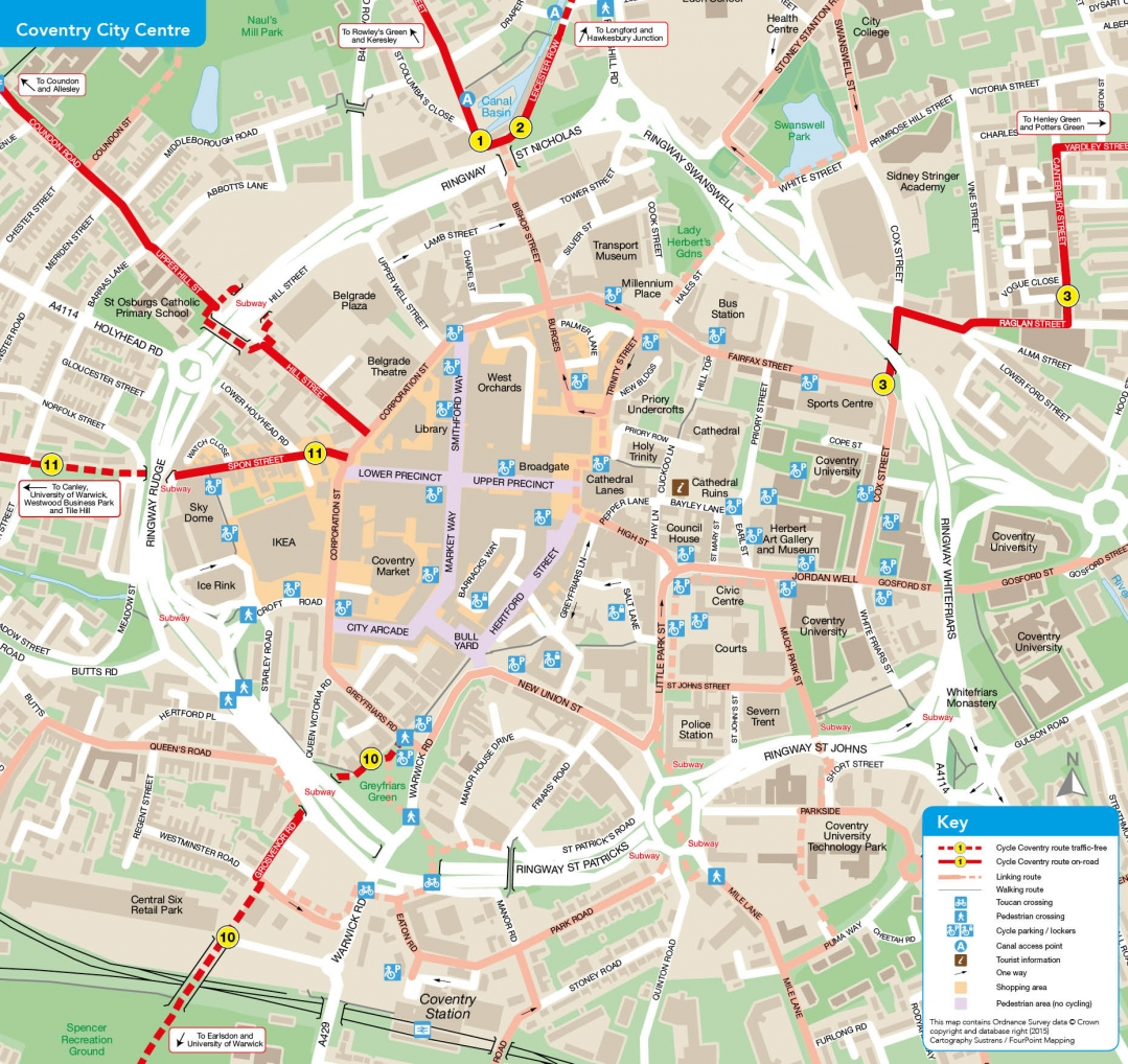 Cycle route - Coventry city centre