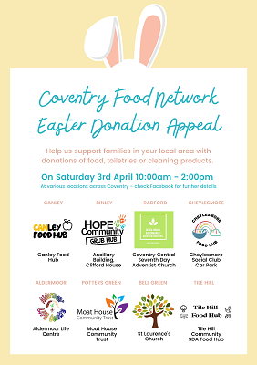 A poster about the Coventry Food Network appeal. It lists the locations you can join in at and asks that people visit their facebook page for more details