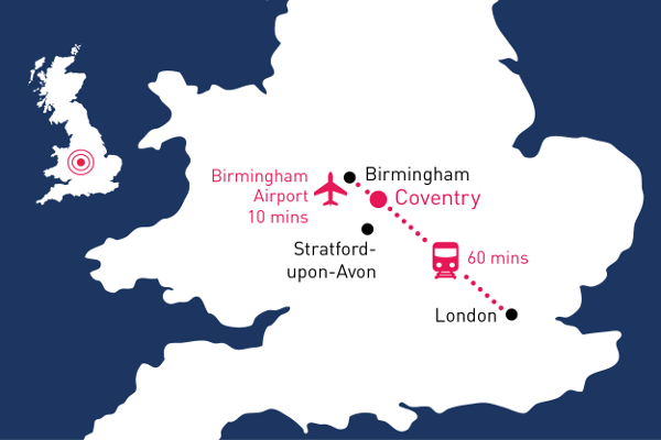 Coventry travel map
