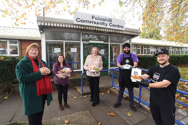 *Pictured: L-R: Colleen Fletcher MP, Helen Needham (Foleshill Community Centre), Cllr Faye Abbott, Dev Bhamara (Paneer wrap Street food Company), Chris Hardy (Libertine Burger) outside the community centre