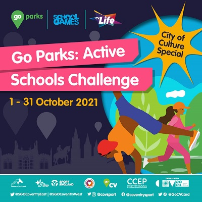 A graphic that says 'Go Parks: Active schools challenge 1-31 October 2031. The image is of stylised characters engaging in outdoor activities such as gymnastic and running