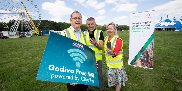 From left to right: Neil Downtown, Councillor Richard Brown, Coventry City Council's Digital Champion, Leigh Hunt, CityFibre's City Manager for Coventry at War Memorial Park