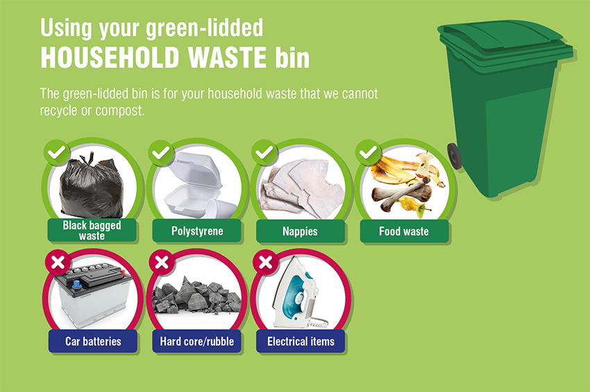Green-lidded bin contents