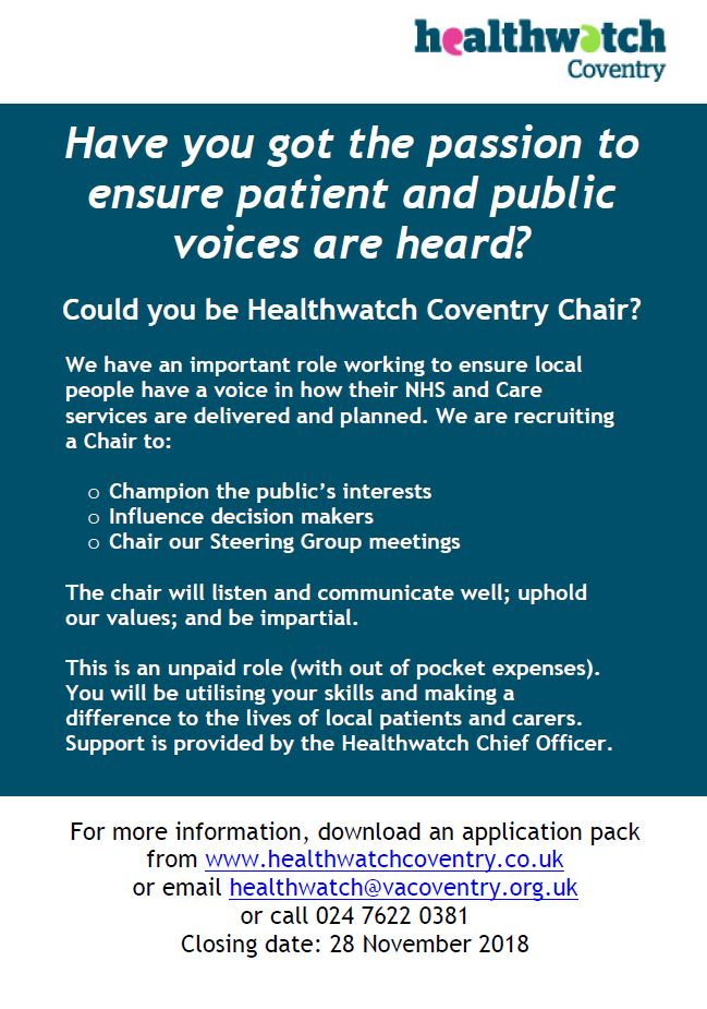 Healthwatch Coventry recruitment poster