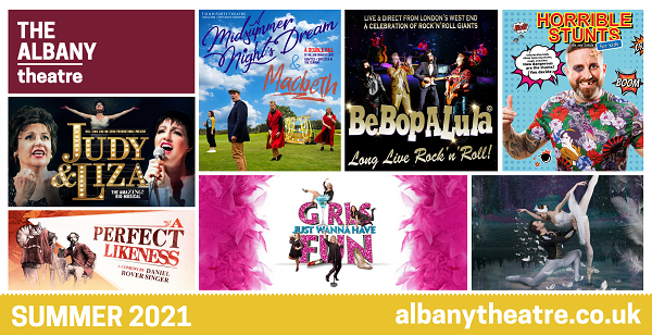 The image shows the posters of the various productions at the Albany