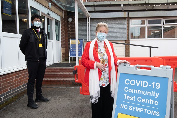Pictured: Lord Mayor of Coventry, Cllr Ann Lucas with a member of staff at the Foleshill testing centre.