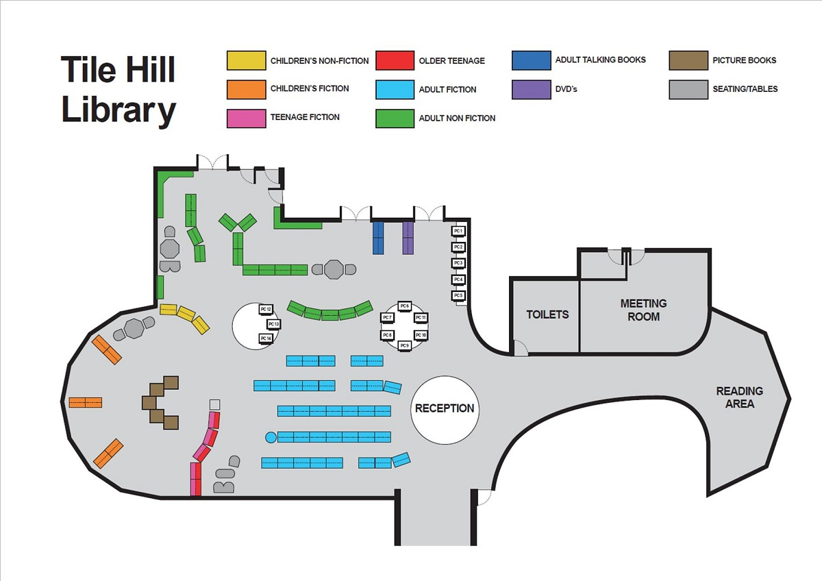 Map of Tile Hill library large