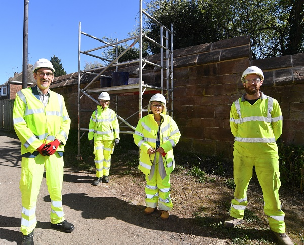 From the left, Ian Harrabin (Historic Coventry Trust), Lydia Hamilton-Smith (Balfour Beatty), Cllr Patricia Hetherton (Coventry City Council) and Grant Jenkinson (Croft Building & Conservation)