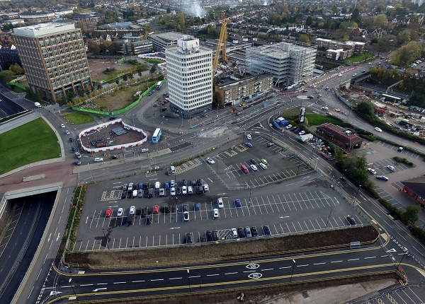 An aerial view of the new Western Link Road near Coventry Railway Station.
