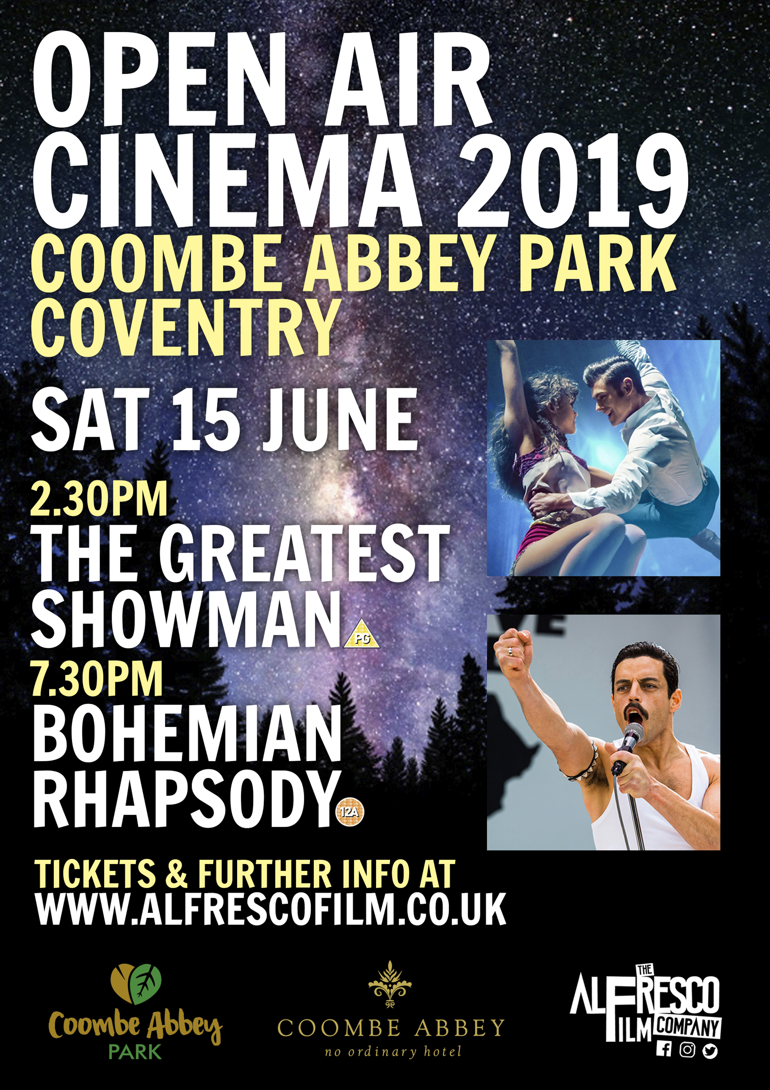 Open air cinema at Coombe Abbey Park