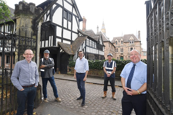 From the left, Graham Tait (Historic Coventry Trust), Graham Robertson (Messenger Construction), Ian Harrabin (Historic Coventry Trust), Mark Brookes (Messenger Construction) and Cllr Jim O'Boyle