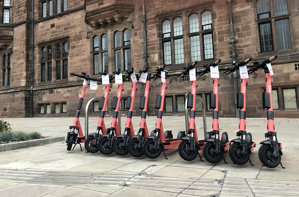 A picture of the scooters outside the Council House