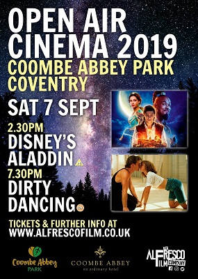 ​On Saturday 7 September at Coombe Abbey Park, film fans can watch Disney's latest Aladdin at 2.30pm, or the film classic, Dirty Dancing, at 7.30pm.