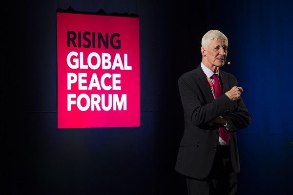 Pictured: Professor Mike Hardy at the RISING Global Peace Forum.