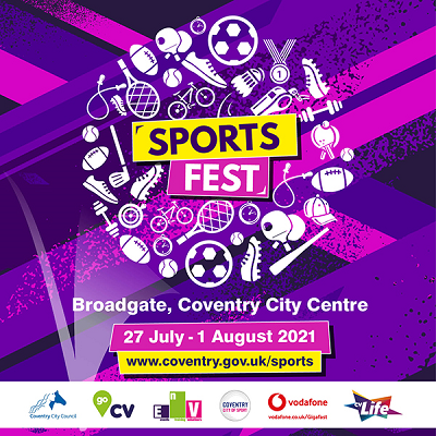 Pictured is a graphic image for sports fest that mentions the date and has sponsors logos