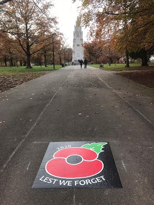 Poppy on the road in War Memorial Park