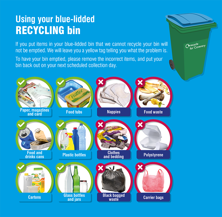Blue-lidded bin contents