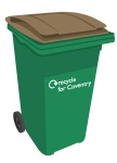 Brown-lidded (recycling) bin