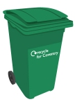 Green-lidded (rubbish) bin