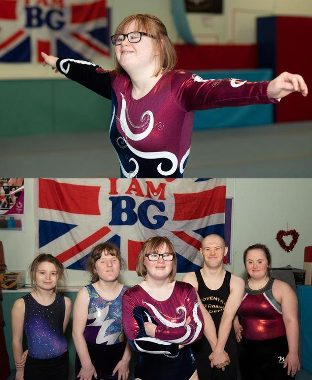 Emily Crilly preparing for the World Special Olympic Summer Games  and Group picture: Left to right -  Nuala Cooper, Shona O'Keeffe, Emily Crilly, AJ Marston, Holly Riseborough at the Coventry Empire Gymnastics Club