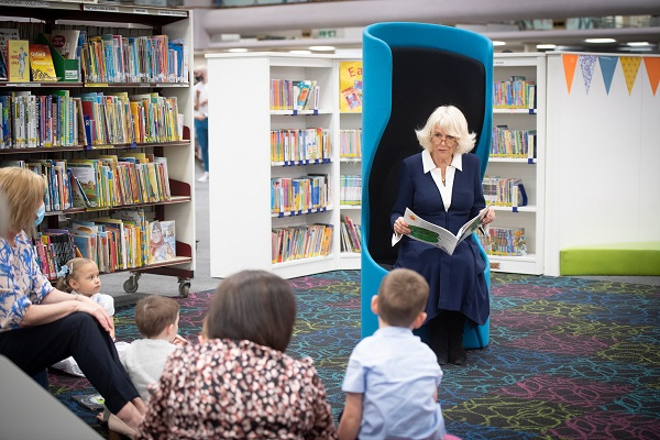 Her Royal Highness The Duchess of Cornwall reads to some children