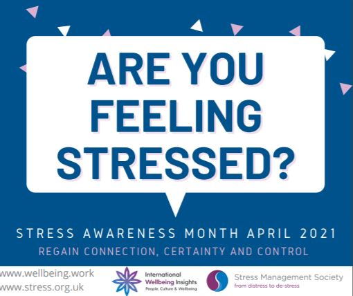 A picture for Stress Awareness month that also shares the cobtact details that are in the article