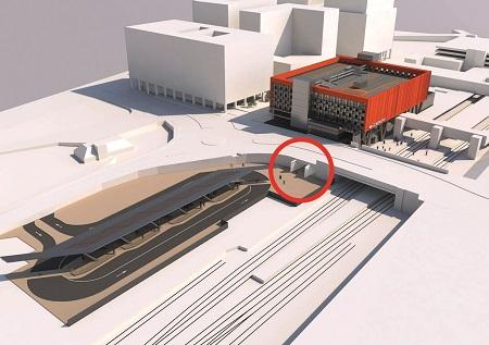 Tunnel (circled) as part of the new Station Masterplan